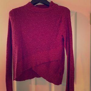 Free People Wine Red Boho Wrap Sweater